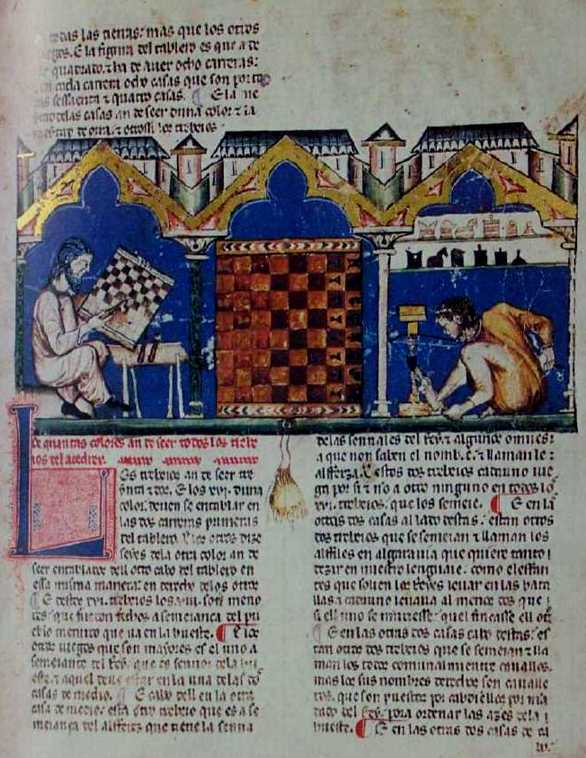 The Chess board and pieces being made (f. 3r)> <P> Medieval/Arab chess (Shatranj) from <A HREF=
